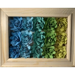 Shadow box con fiori blu/verde